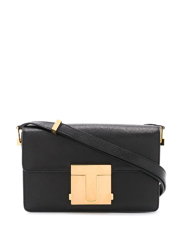 Tom Ford Shiny Grained Leather Small 001 Bag In Black