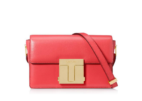 Tom Ford Shiny Grained Leather Medium 001 Bag In Red