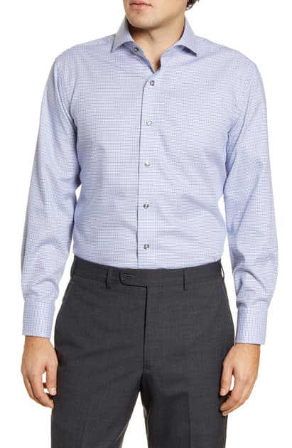 Lorenzo Uomo Trim Fit Non-iron Houndstooth Dress Shirt In Blue/ Grey