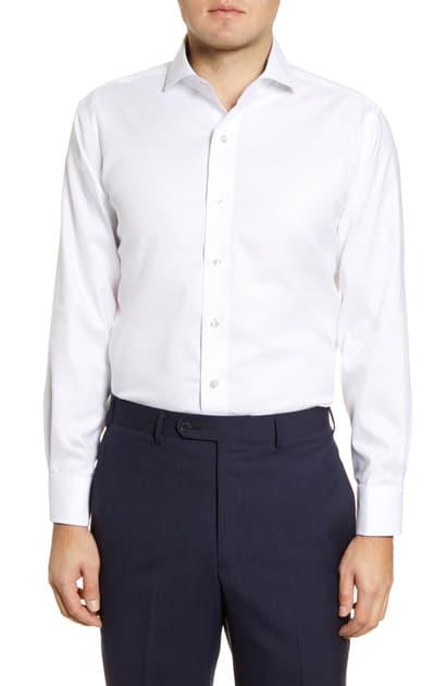 Lorenzo Uomo Trim Fit Oxford Cotton Dress Shirt In White