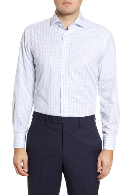Lorenzo Uomo Trim Fit Windowpane Dress Shirt In White/ Blue