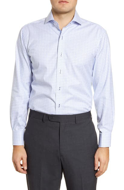 Lorenzo Uomo Trim Fit Check Dress Shirt In White/ Light Blue