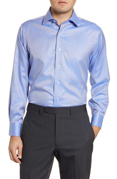 Lorenzo Uomo Trim Fit Non-iron Herringbone Dress Shirt In Denim