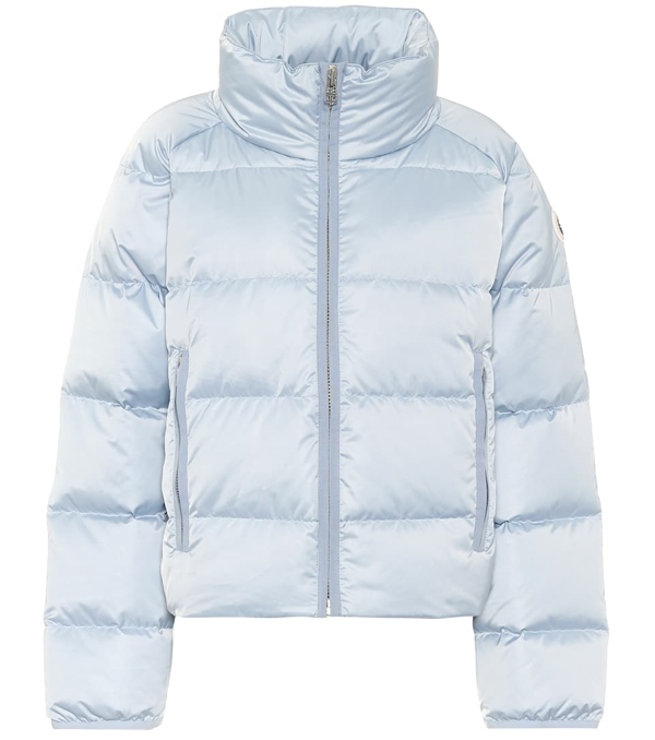 Tory Sport Cropped Performance Satin Down Jacket In Sky