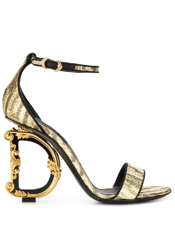 Dolce & Gabbana Baroque Dg Heel Sandal In Golden Color