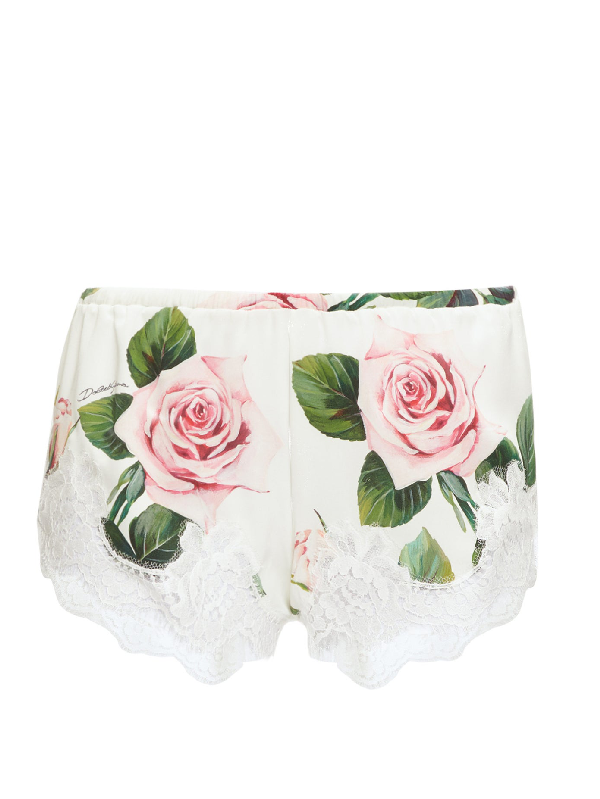 Dolce & Gabbana Satin Lingerie Shorts With Tropical Rose Print And Lace In White Print