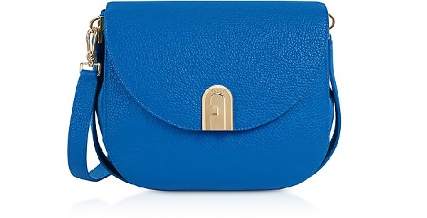 Furla Genuine Leather Sleek Mini Crossbody Bag In Klein Blue