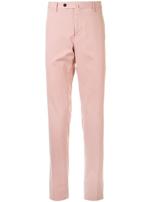Pt01 Men's Stretch Flat-front Trousers In Pink