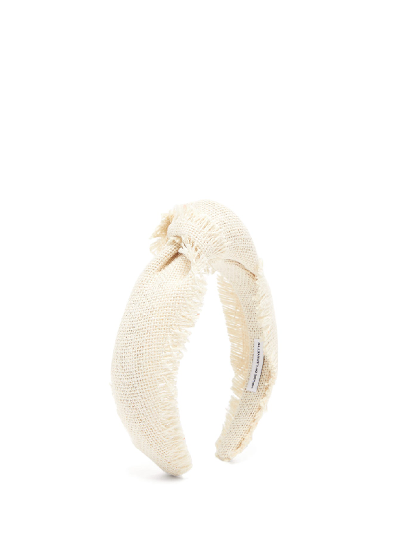 House Of Lafayette Loulou 9 Knotted Canvas Headband In White