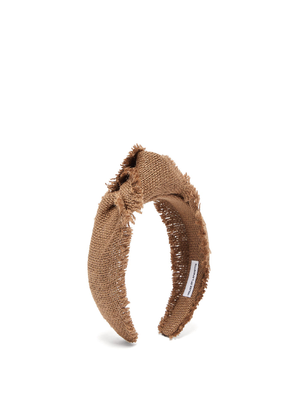House Of Lafayette Loulou Knotted Canvas-weave Headband In Khaki