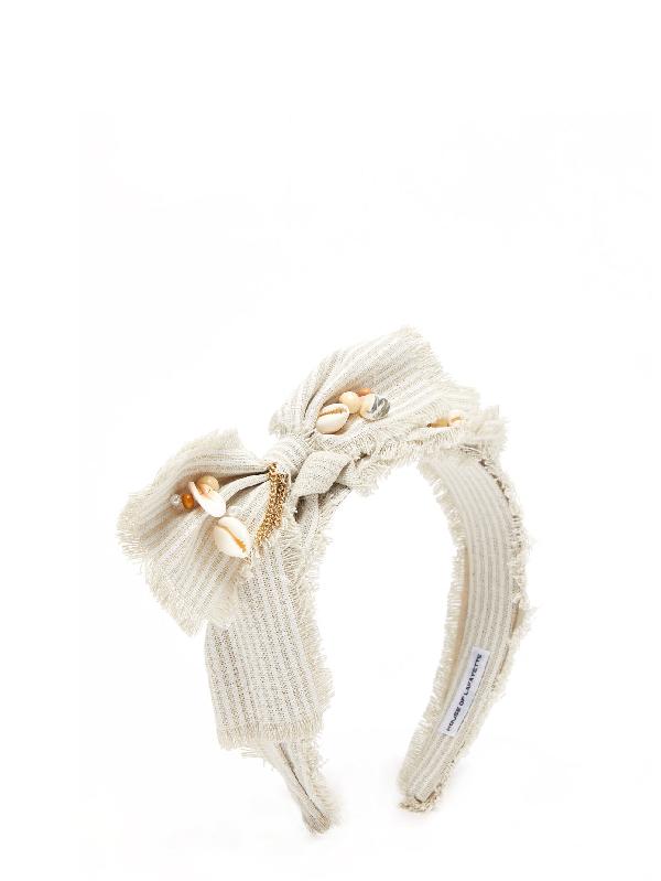House Of Lafayette Hayley Shell-embellished Bow Striped Headband In Grey Stripe