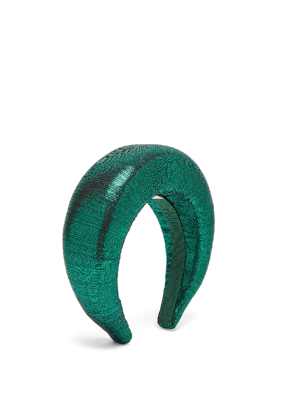 Flapper Edvige LamÉ Headband In Green