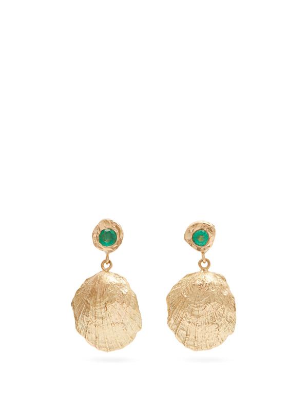 Nadia Shelbaya Shell Emerald & Gold Drop Earrings