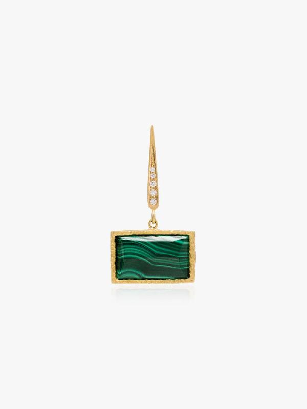 Orit Elhanati 18kt Yellow Gold Roxy Malachite Diamond Drop Earring In Metallic