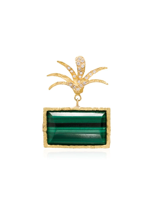 Orit Elhanati 18kt 'roxy' Gelbgoldohrring Mit Malachit Und Diamanten In Metallic