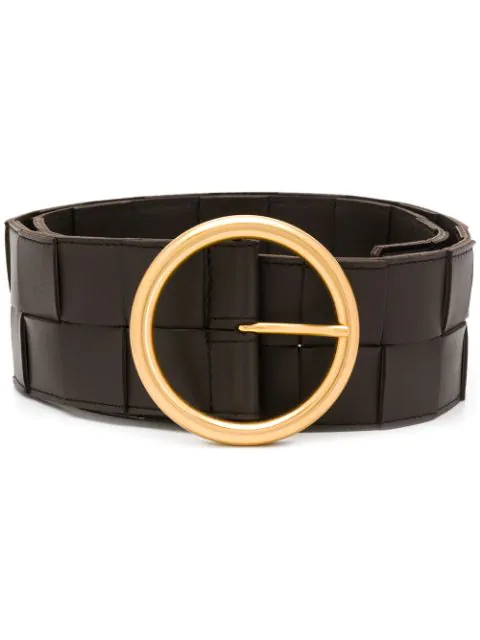 Bottega Veneta Intrecciato Leather Belt In Brown