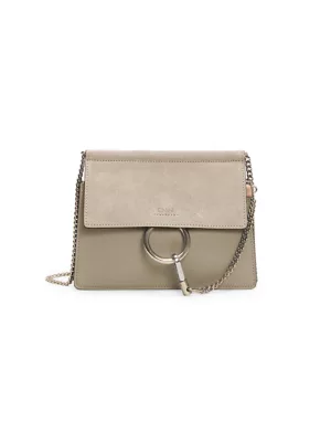 Chloé Faye Mini Leather And Suede Shoulder Bag In Faded Blue