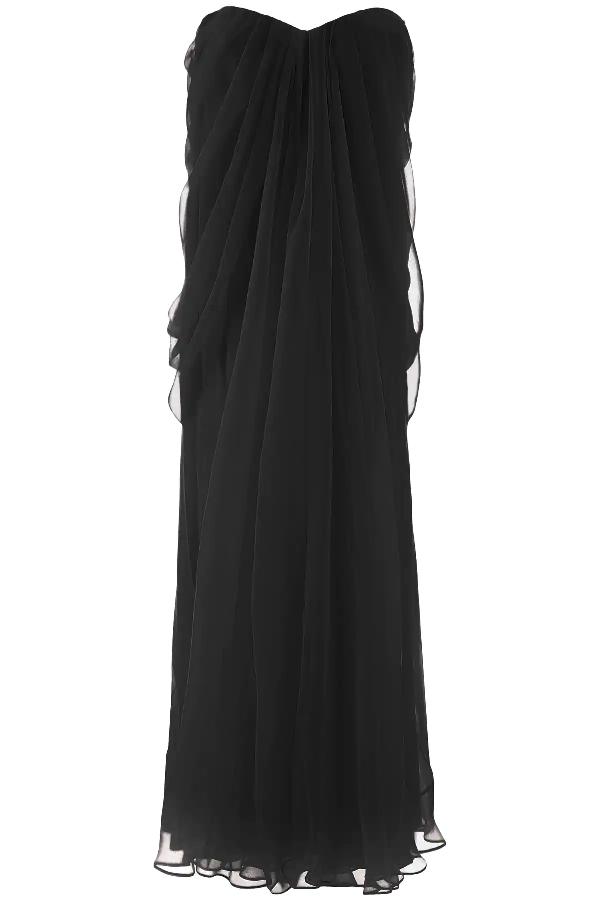 Alexander Mcqueen Silk-chiffon Bustier Gown In Black