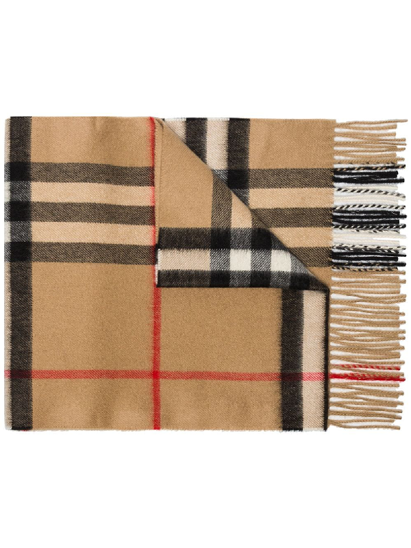 Burberry Check & Icon Stripe Padded Cashmere And Silk Scarf In Beige