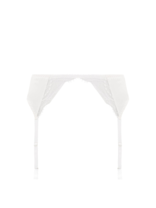 Fleur Of England Signature Silk-blend Satin And Lace Suspender Belt In White