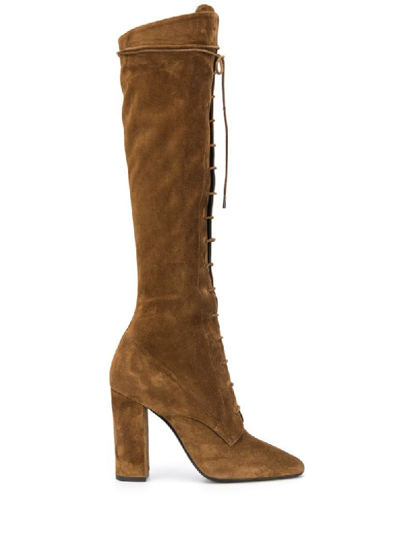 Saint Laurent Laura Over The Knee Lace-up Boot In Brown