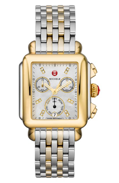 Michele Deco Diamond Chronograph Watch Head & Bracelet, 33mm In Gold/ Silver/ White