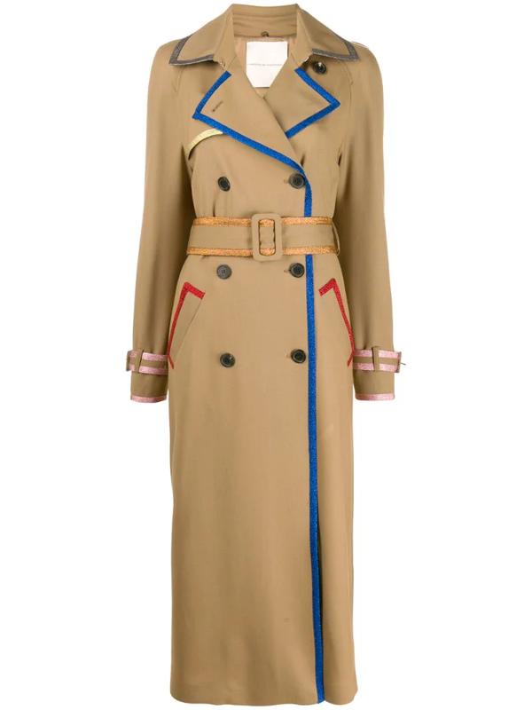 Marco De Vincenzo Contrast-threading Trench-coat In Neutrals