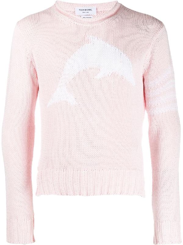 Thom Browne Dolphin Intarsia-knit Merino Wool Sweater In Pink