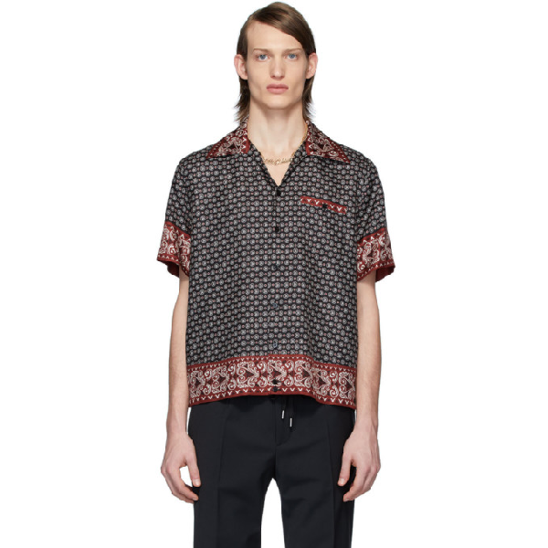Dolce & Gabbana Dolce And Gabbana Black And Burgundy Silk Bandana Print Shirt In Hr62c Banda