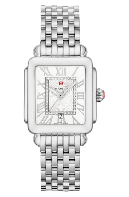 Michele Deco Madison Diamond Dial Watch Head & Bracelet, 29mm X 31mm In Silver