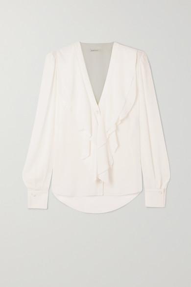 Alexander Mcqueen 'georg' Ruffle Collar Silk Blouse In White