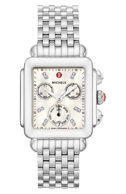 Michele Deco Diamond Dial Watch Head & Bracelet, 33mm In Silver/ White