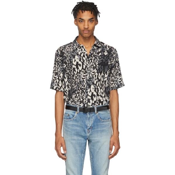 Saint Laurent Leopard Tricolore Short Sleeve Silk Button-up Shirt In Black