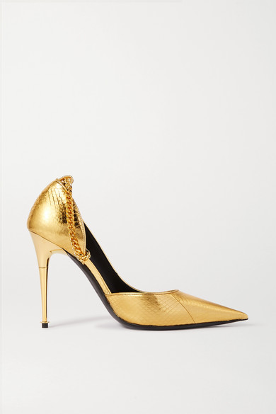 Tom Ford Metallic Python Pumps In Gold