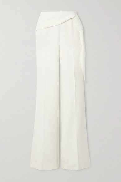 Roland Mouret Sherbrooke Tie-detailed Wool-crepe Wide-leg Pants In White