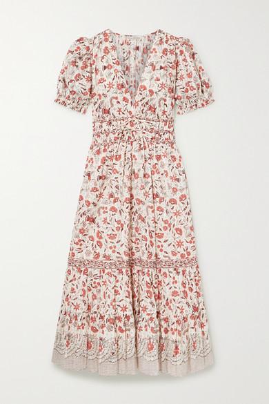 Ulla Johnson Zaria Floral-print Cotton Midi Dress In Ecru