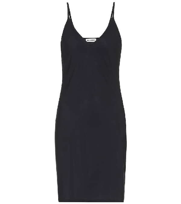 Jil Sander Stretch Slip Dress In Black