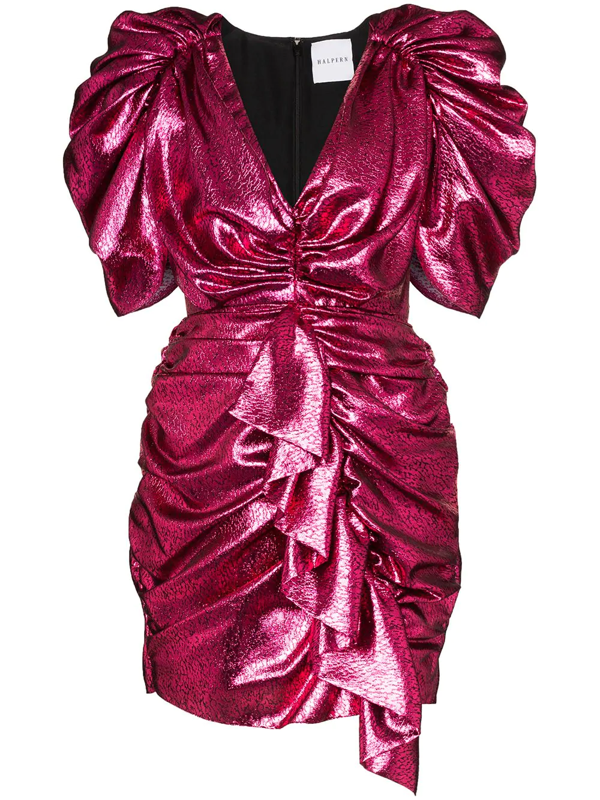 Halpern Ruffled Sequinned Mini Dress In Pink