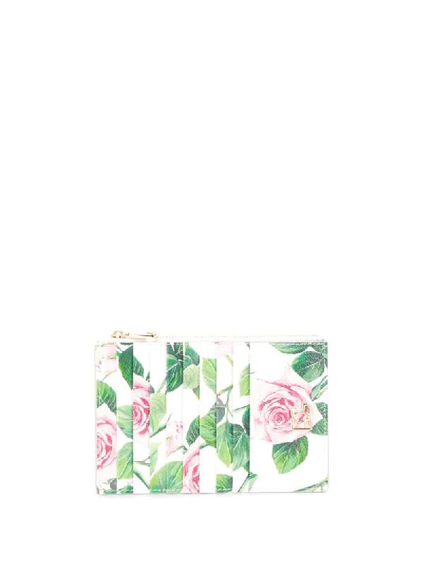 Dolce & Gabbana Tropical Rose Print Cardholder In White