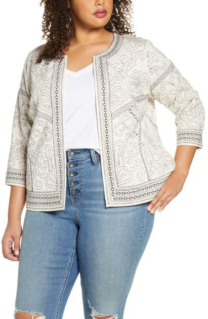 Daniel Rainn Plus Embroidered Open-front Jacket In Heather Oatmeal