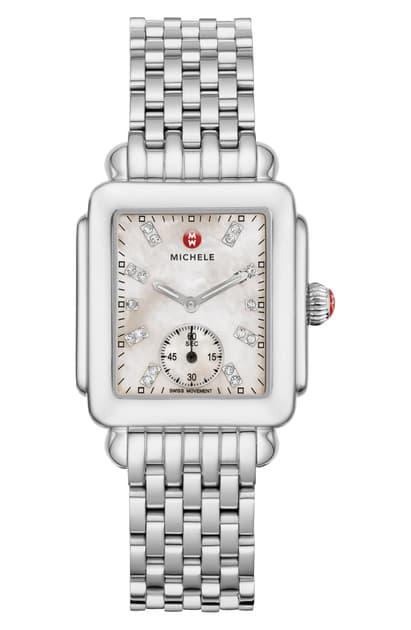 Michele Deco Mid Diamond Dial Watch Head & Bracelet, 29mm In Silver/ White