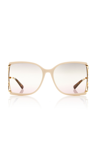 Gucci Gradient Square-frame Metal Sunglasses In Ivory