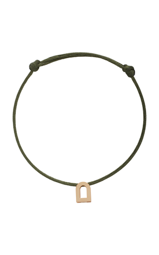 Davidor L'arc Voyage 18k Rose Gold And Silk Cord Bracelet In Green
