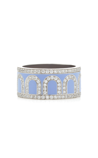 Davidor L'arc 18k White Gold And Diamond Ring In Blue