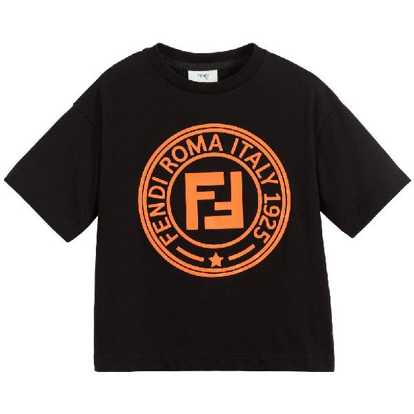Fendi Teen Logo Print T-shirt In Black