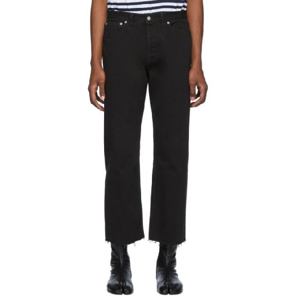 Maison Margiela Black Slim Fit Raw Hem Jeans In 900 Black