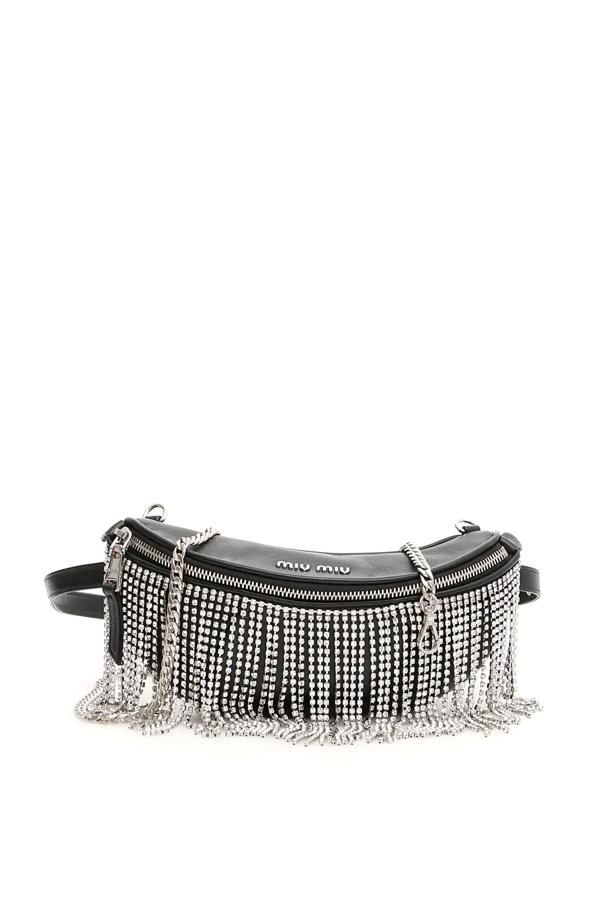 Miu Miu Crystal Fringed Beltbag In Nero (black)