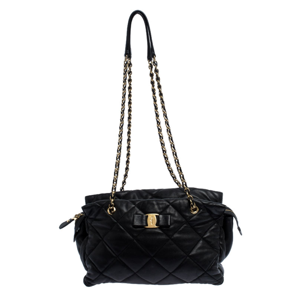 Pre-owned Salvatore Ferragamo Black Quilted Leather Ginette Chain Shoulder Bag