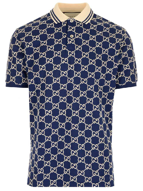 Gucci All Over Logo Polo Shirt In Blue