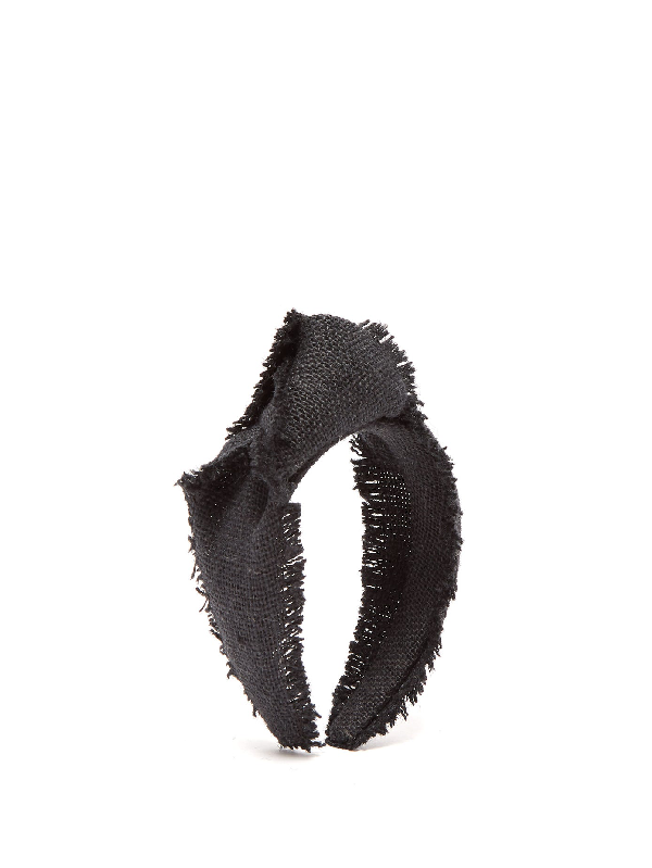 House Of Lafayette Loulou Knotted Canvas-weave Headband In Black
